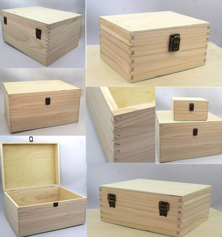 High Quality Wholesale Price Finger Joint Large Desktop Solid Wood Storage Box
