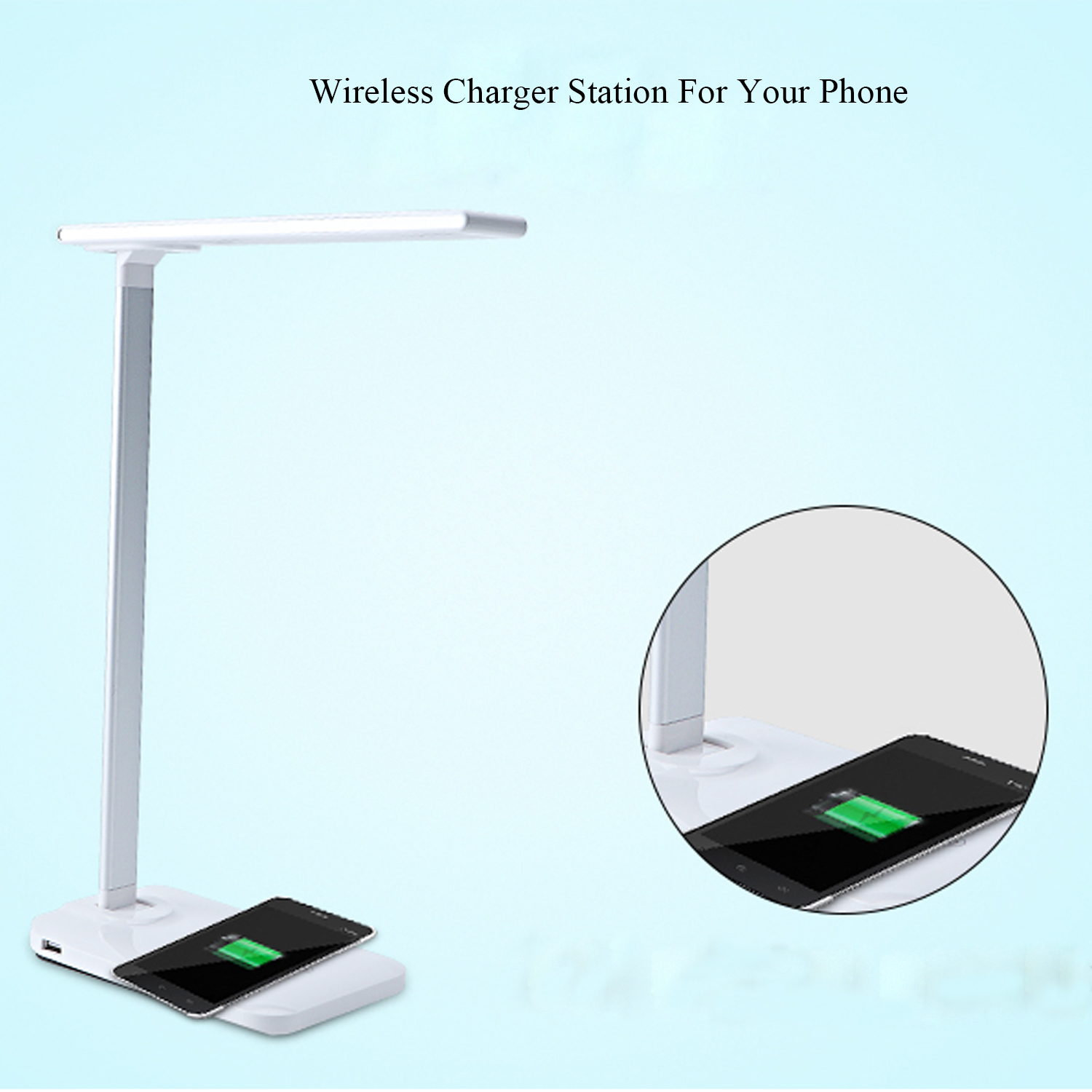 Bedside lamp with usb port wireless charing QI for Iphone Samsung