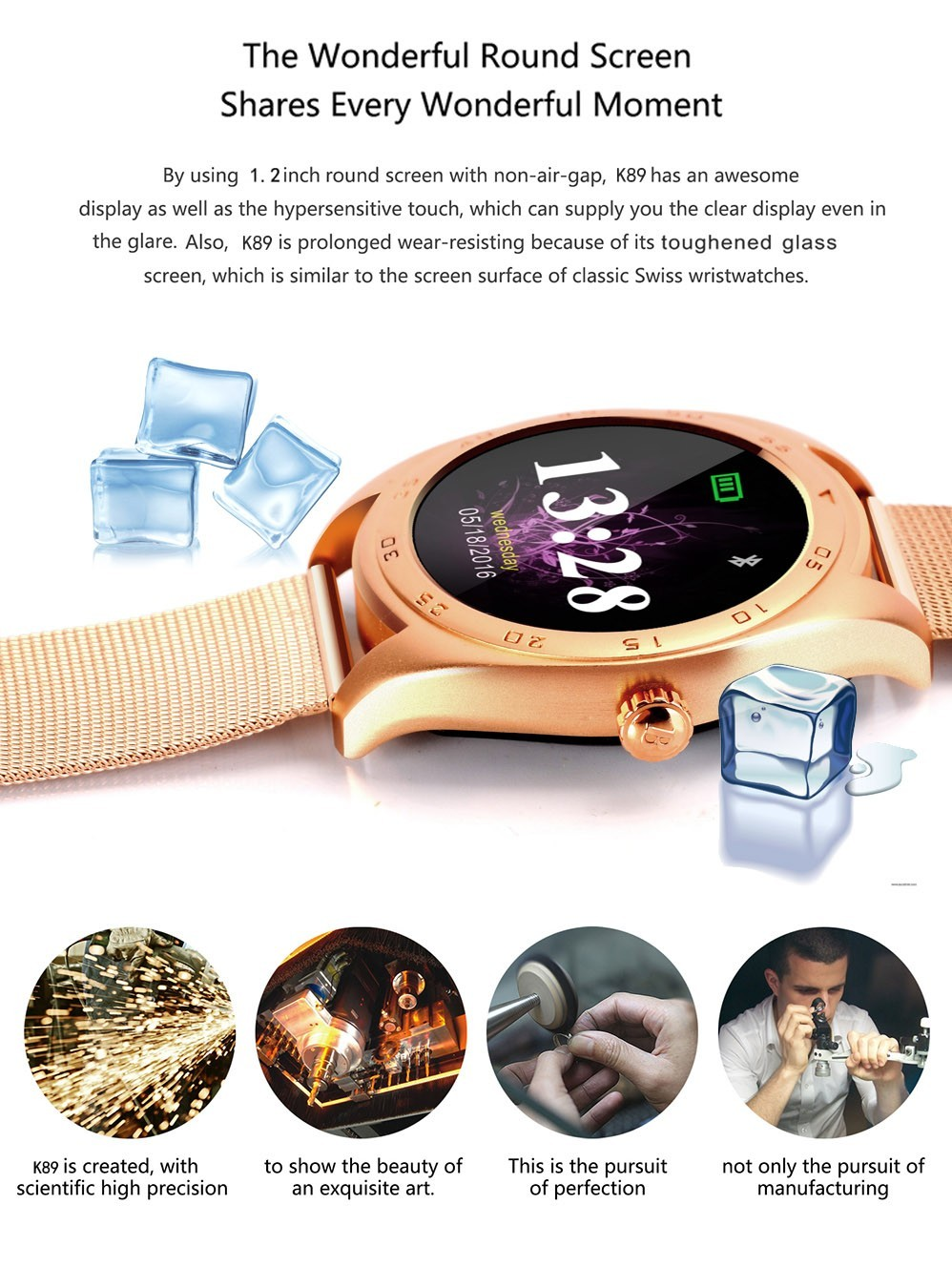 k89 wrist watches men women leather strap Round Touch Screen smartwatch Phone smart watch heart rate mobile watch phones x10