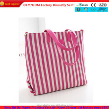 China supplier wholesale rose large capacity stripes tote bag