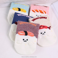 Custom colorful cute embroidered pattern women socks funny short socks wholesale