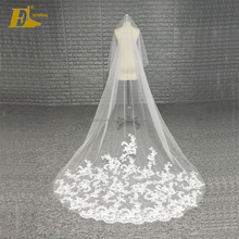 Custom Made High Quality Ivory Long Tulle Wedding Veil With Lace Hem
