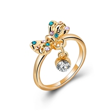 High Quality Gold Plated Ring Crystal Bowknot Ring Ladies Gold Finger Ring