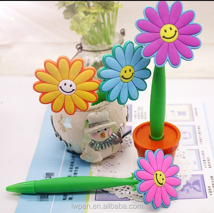 Wholesale rubber tip stylus fun flower pen multi-color for kids