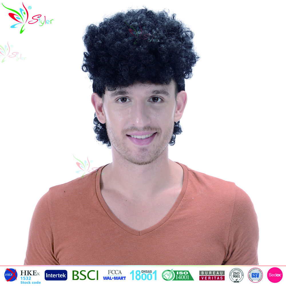 Styler Brand black synthetic toupee short curly wig ombre wholesale men wig