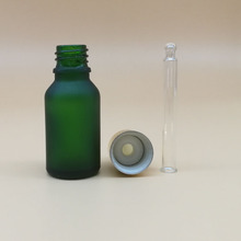 15ml empty frost glass green bottle round 15 ml liquid medicine glass dropper bottles