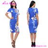 2017 flower printig bandage ladies fashion clothing blue woman fashion dresses