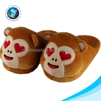 Top selling soft plush emoji slipper promotional cute stuffed soft plush emoji monkey shoes