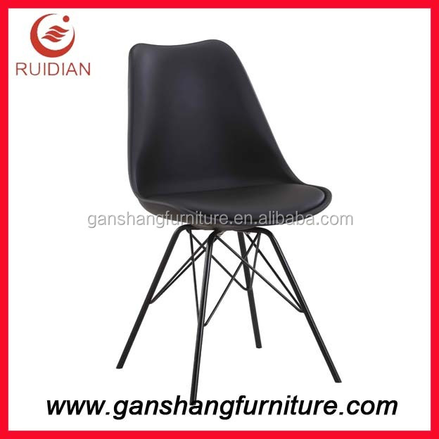Wholesale tulip style dining chairs steel tube legs plastic chair powder coated cheap restaurant chair