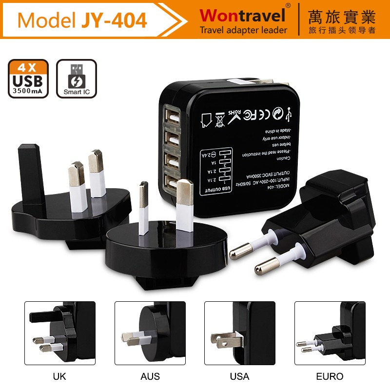 JY-404 Best selling oem mobile phone accessories charger 5v 3a usb output multi universal plugs travel charger adapter