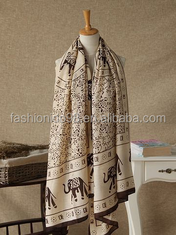 Ethnic Printing Warm Scarf Womens Long Cape Scarf 100% viscose scarf