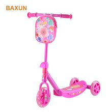 3 wheel plastic and steel child scooter with customized bag