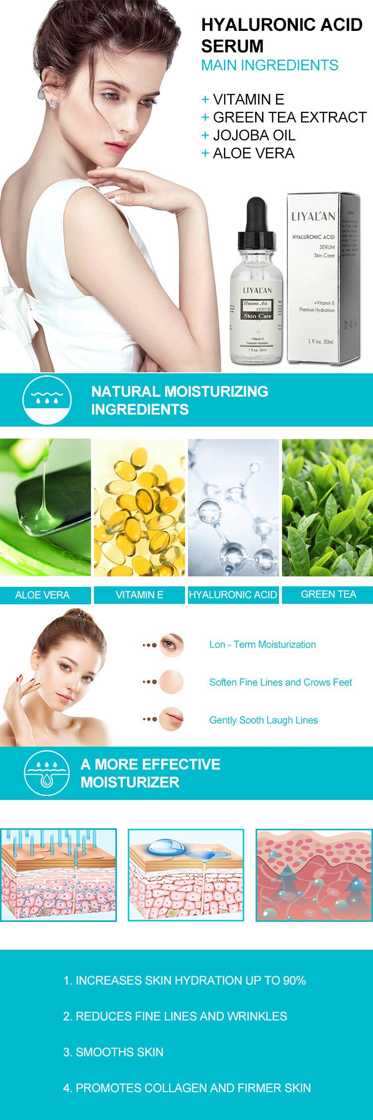 Private label moisturizing hyaluronic acid Vitamin C facial serum for face