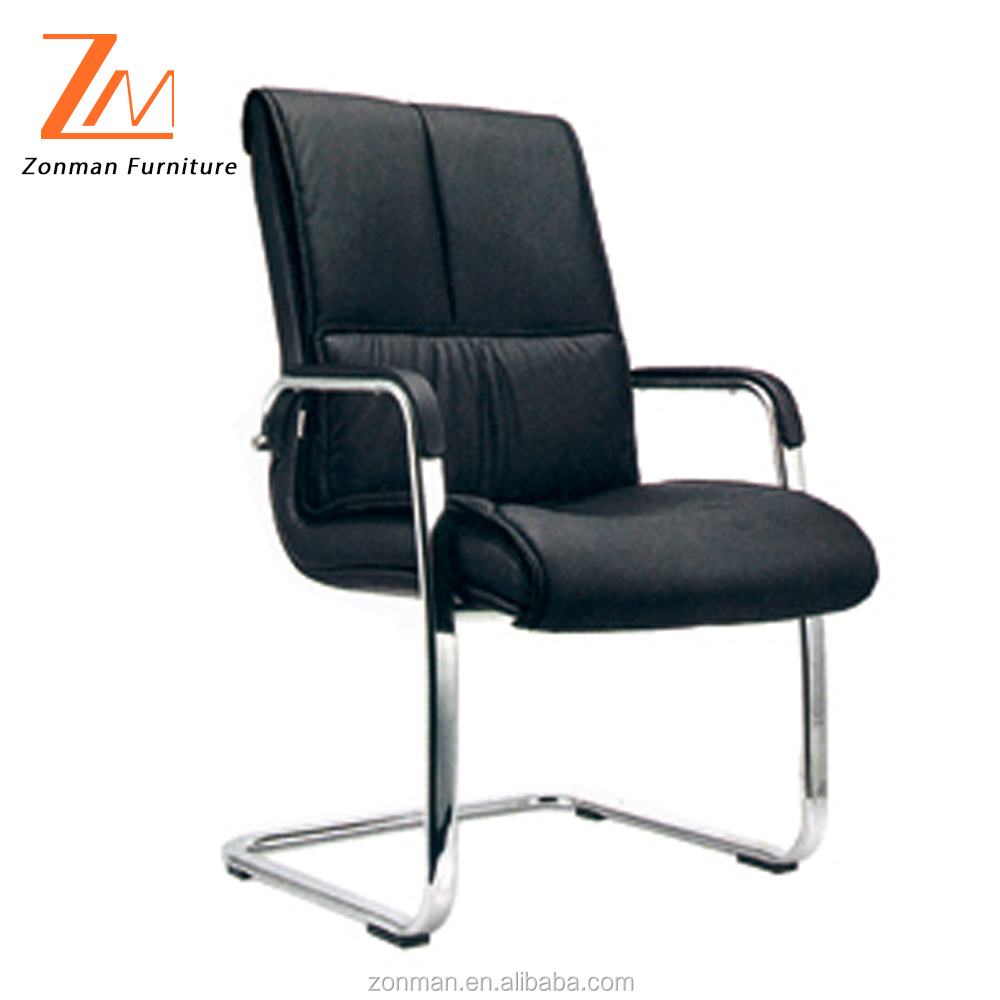 Comfortable low back Genuine leather conference chair with wooden arms