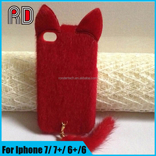 Fox ear fluffy pendant pure color plush warm skin cover tpu pc phone case for iphone 6 6plus 7 7plus