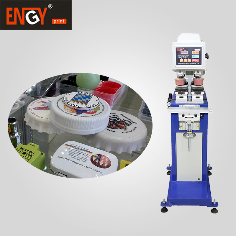 PP /PE bottle caps auto 2 color closed ink cup pad printer with uv dryer system