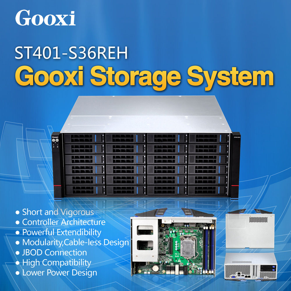 Gooxi ST401-S36REH JBOD chassis shenzhen Hot-swap Xeon E3 V3 motherboard high density 4U 36 bay storage cloud server