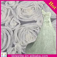 100% polyester mesh embroidered rose lace fabric/ Beige & sex red 3D rose flower fashion lace fabric