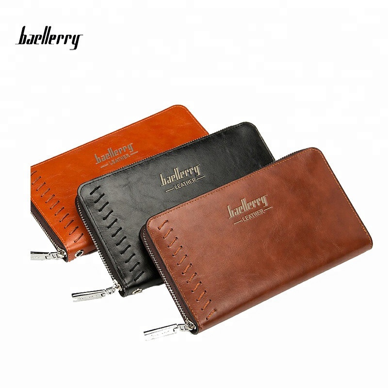 Baellerry New Multi-function Business Vintage Brand Men Wallets Long Zipper Coffee Black PU Leather Wallet Purse Clutch Bags