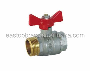 male to Female high quality aluminum butterfly handle manual forged brass ball valve