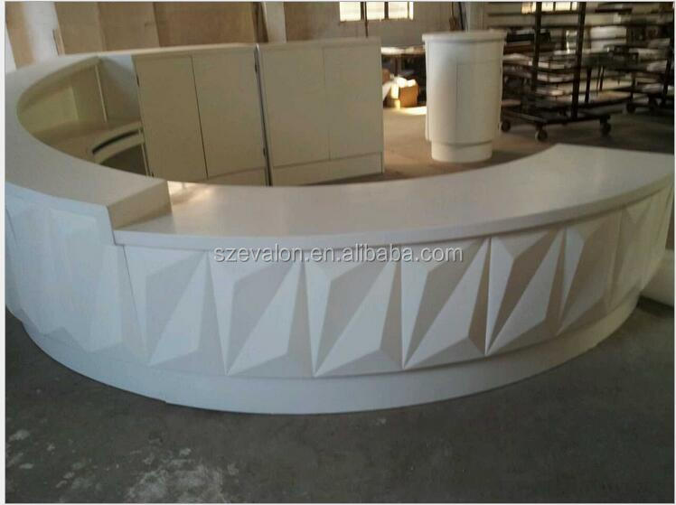 Cheap modern round shaped marble top office desk,solid surface standing reception desk,reception desk counter