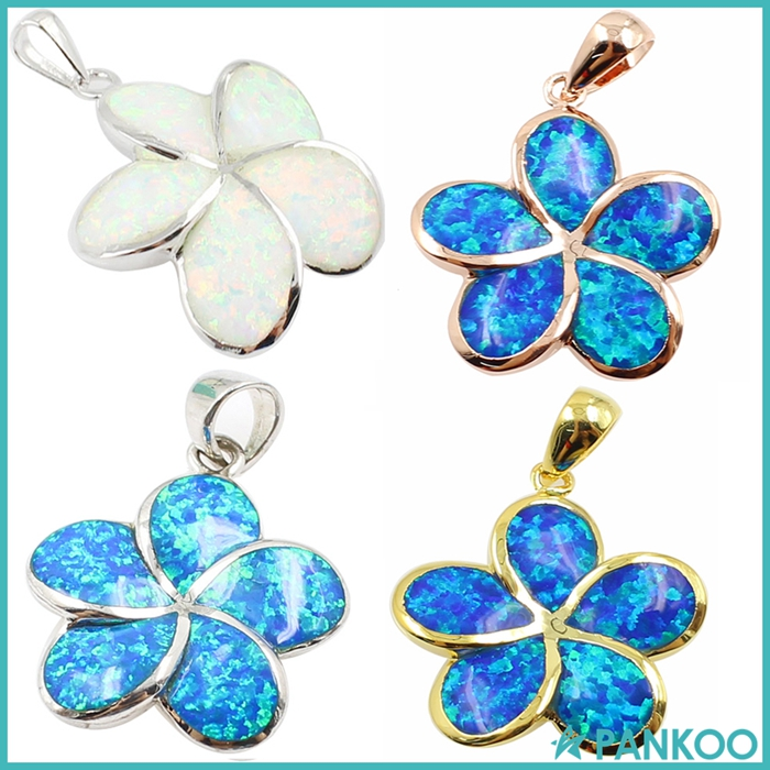 Hot Sale 925 Sterling Silver Blue Inlay Opal Hawaiian Flower Charm Pendant