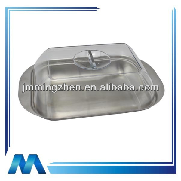 stainless steel clear plate plastic lid butter container