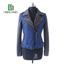 slim fit jeans jacket black pu sleeve zipper jacket women pu leather jacket