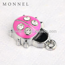 Hot item M90 Wholesale DIY Crystal Pink Ladybug Metal Pendant Charm