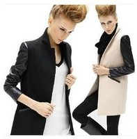 Womens Overcoats Slim Outwear Motorcycle Pu Leather Jackets Tops