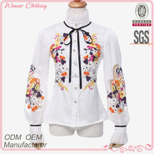 direct factory high fahsion loose -fitting hot cotton brand clothing for women with stand collar