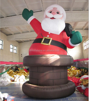 Outdoors Inflatable Christmas Santa Claus Sitting Chimney with Gift