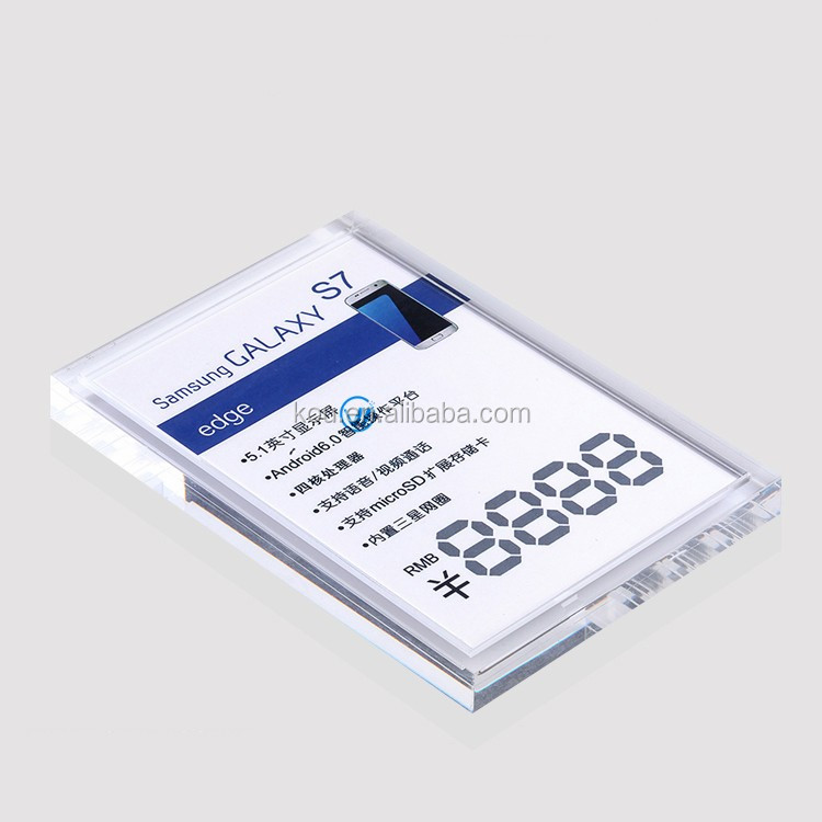 2016 mobile phone A5 acrylic price tag holder for Samsung cell phone as price tag display