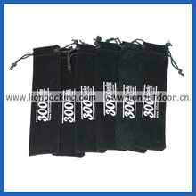 Velvet bags and pouches with drawstring white letters logo printing