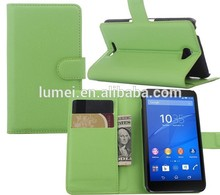 Luxury Leather Folio Stand Protective Wallet Case flip Cover for sony xperia e4 dual