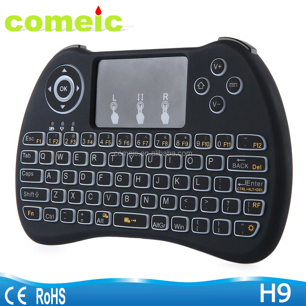 H9 Mini Touchpad Air mouse Backlit wireless keyboard