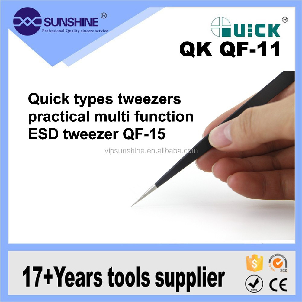 Multifunctional Quick types tweezers practical ESD anti-static stainless steel tweezers QF-11