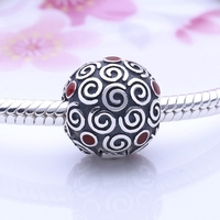Hot Sale 925 Sterling Silver Red Enamel Squiggle Clip Charms Stopper Beads Fits European Snake Chain Bracelets DIY Fine Jewelry