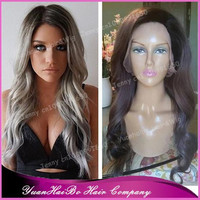 Hot Sale Top Quality! ombre silver gray virgin brazilian wavy two tone grey hair lace wig