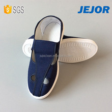 Dark Blue PVC ESD Four Hole Shoes For Cleanroom