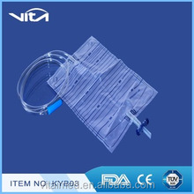 Disposable medica urine bag for adult with cross vavle KYB03
