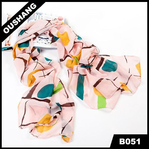 B051 Print Cheap Chiffon Shawl