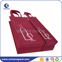 Wholesale red non woven fabric wine bottle gift bag