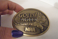 NRA BELT BUCKLE GOLDEN EAGLES NRA BRASS VERY NICE! COLLECTIBLE NICE GIFT