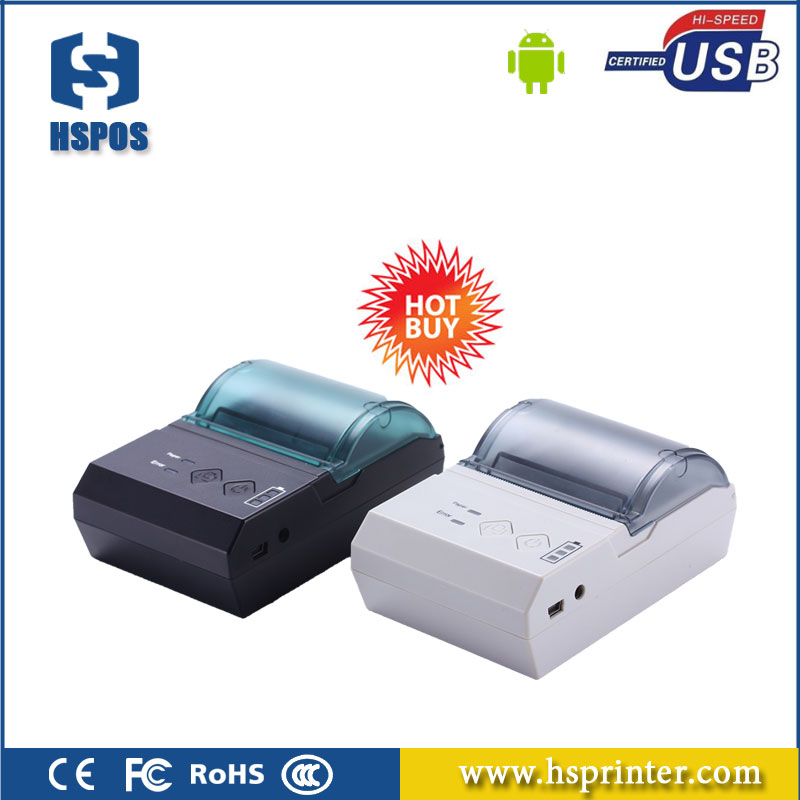 Mobile rechargeable thermal receipt printer with wireless bluetooth usb interface HS-E20UA