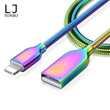 Wholesale USB Charger Data Cable For iPhone X Mobile Phone Fast Charging Zinc Alloy Spring stainless steel Metal charging cable