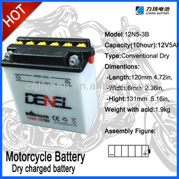 ZongShen Motorcycle use battery,Lead Acid Dry charged Motorbike batteries for starting,12N5-3B