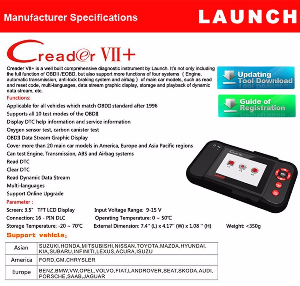 2016 New Launch X431 CReader VII+ Auto Code Reader Launch CReader VII Plus Update Online