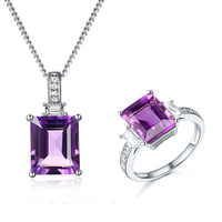 china wholesale 925 sterling silver jewelry rough square shaped amethyst jewelry set