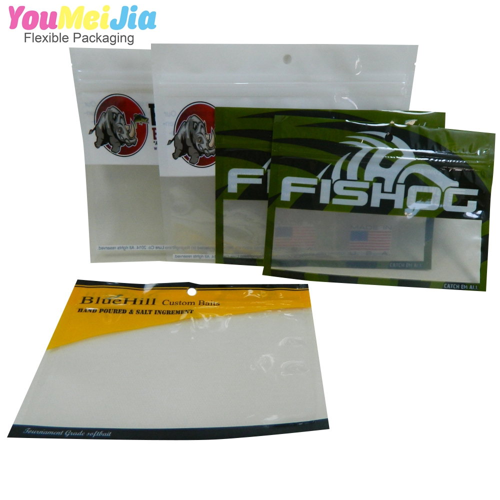 wholesale custom printed aluminum foil fishing baits/lure packing bags with ziplock and one side clear